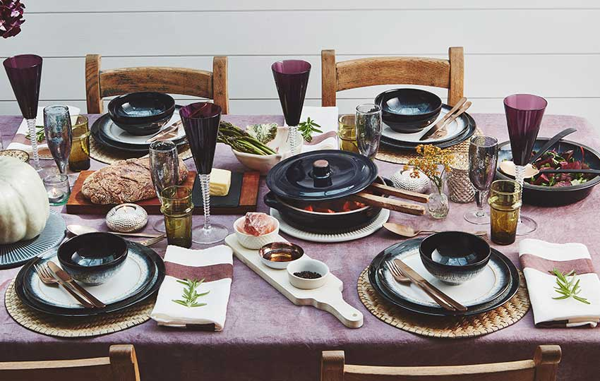 Dinner party table with glassware