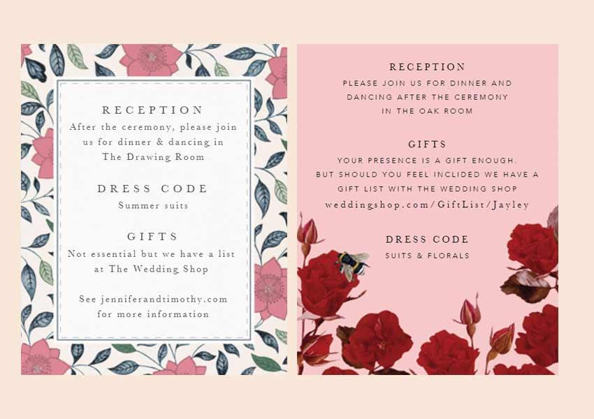 Wedding gift list wording for wedding invites