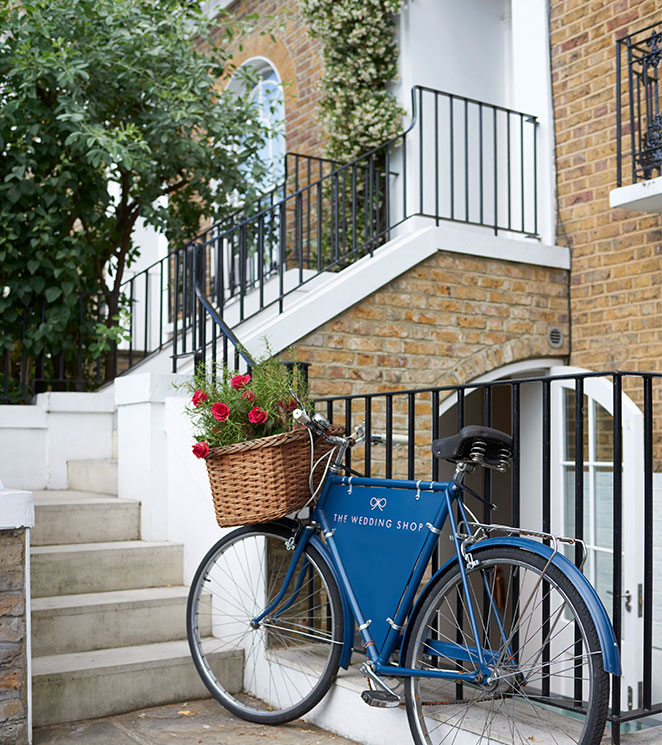 London Townhouse with bicycle and red flowers
