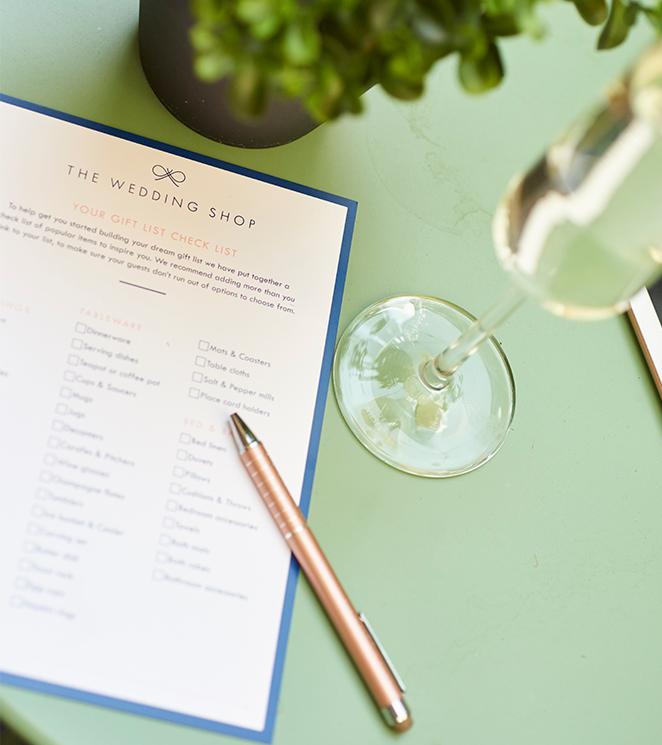 The Wedding Shop gift list checklist