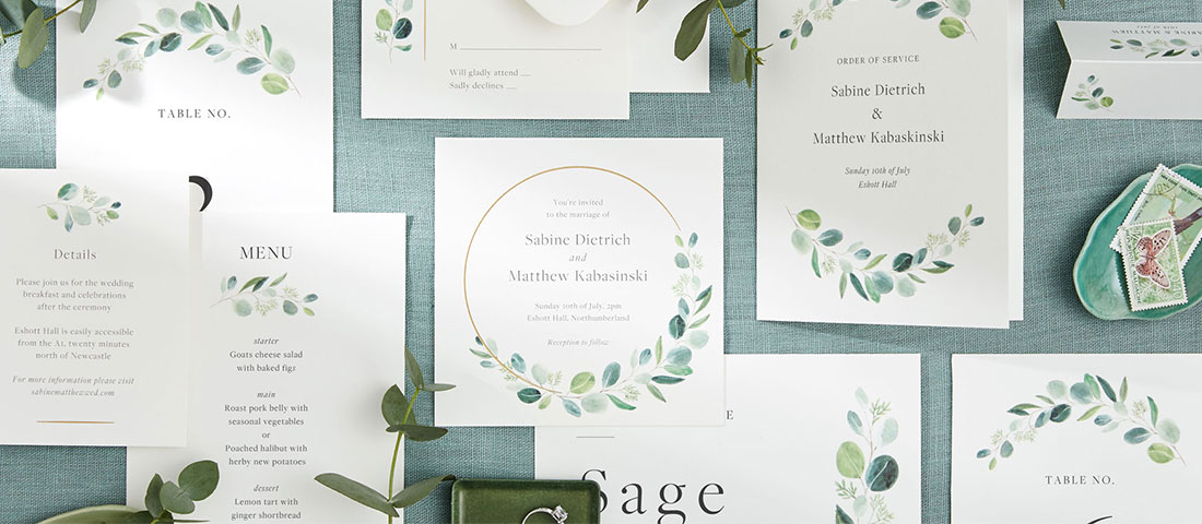 Papier wedding stationery suite with eucalyptus theme