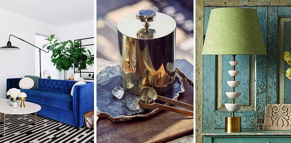 marble, velvet and brass trend